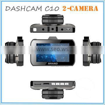 1080P front and 720P back view two car camera 3 Inch screen FHD 1080p manual car camera hd dvr Quality Choice