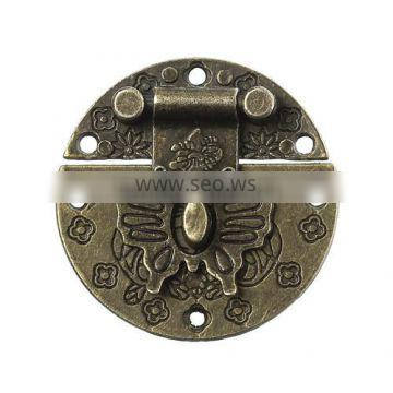 Antique Bronze Decorative Butterfly Pattern Clasp Round Jewelry Wooden Box Lock