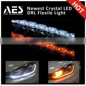 Newest design !AES Crystal led drl with turning light daytime running light xenon projector DRL 60cm 50cm 85cm