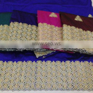 GB005-6 2015 raw silk george fabric/african lace george/raw silk george wraper made in India