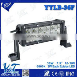 36W 7.5 inch 12V 24V Single Row LED Light Bar Driving Light 3240LM Flood Spot Beam for Offroad Tractor Truck SUV ATV