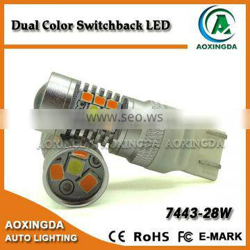 The brightest dual color switchback LED bulb T20 7443