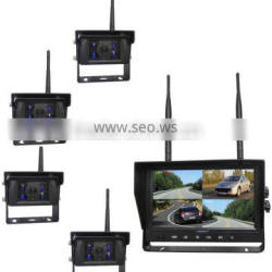100% Factory CE RoHS 2.4Ghz Digital Wireless 10-32V 9 Inch Monitor Wireless Car Rear View System with 4 Cameras