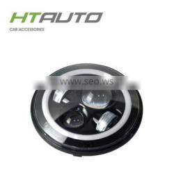 HTAUTO 7inch 40w Hi/Lo Beam Led Working Lights Halo Ring Projector Led Headlight For Jeep Wrangler
