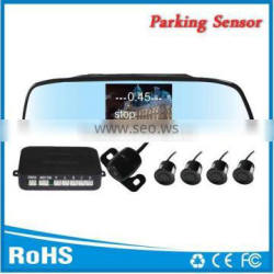 4.3inch lcd rearview mirror with parking assist 4 sensors and reverse camera