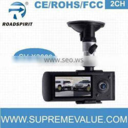 dual lens car dvr black box camera video recorder with GPS/G-sensor of auto recording