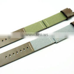 Fashionable Hand Stitched Oil Leather Canvas Watch Straps