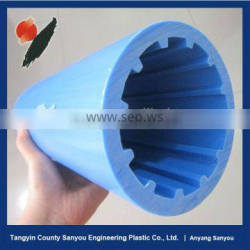 2015 China industrial transporant blue small uhmwpe belt conveypr roller with self-lubrication, wear resistance and no caking