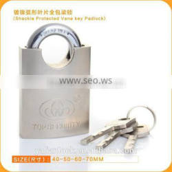 Essential Safety Nickle Plated Shackle Protected Vane Key Padlock