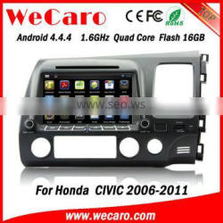 Wecaro android 4.4.4 car dvd high quality for honda civic radio OBD2 right hand drive 2006 - 2011