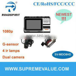 Newest car camera 3inch TFT 1080p GPS G-sensor 2CH support multi-function with H.264 compression hd car dvr