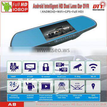 DTY car wireless reversing camera with rearview mirror,two camera car dvr recorder,android cardvr,A8