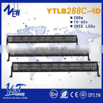 """HIGH Quality IP68 50"""" 288w off road led light bar 4D for car Automotive with CE FCC E-mark Rohs"""