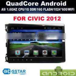 Android DOUBLE DIN car DVD radio stereo audio online gps PC for HONDA CIVIC 2012 with wifi,bluetooth,16g inand IGO MAP