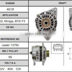 Stable and reliable operation auto car alternator for Mirage, BYD F3 a002ta5192 alternator