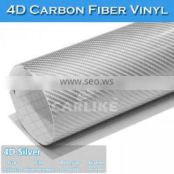 SINO CAR STICKER Auto Body Decoration Silver 4D Carbon Fiber Vinyl Film