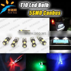 hot sale T10 canbus 5 SMD 5050 led car lamp, no error w5w 194 canbus led, t10 5w5 canbus car led auto bulb