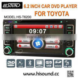Hot selling 2din 6.2'' touch screen toyota universal dvd with gps/bluetooth