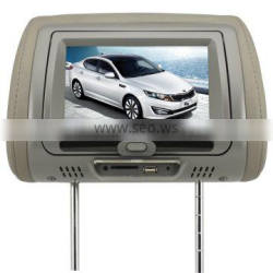 7 inch Car Headrest Multi Media DVD player with USB SD FM IR and GPS Function Connect Support