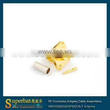 RP-SMA Crimp Jack(male pin) Flange connector for LMR100 RG316 RG174 connector sma