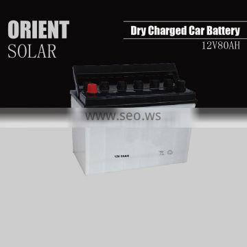12V 80AH dry charged car battery