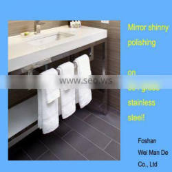 customized hotel bathroom vanity bases of polished chrome stainless steel