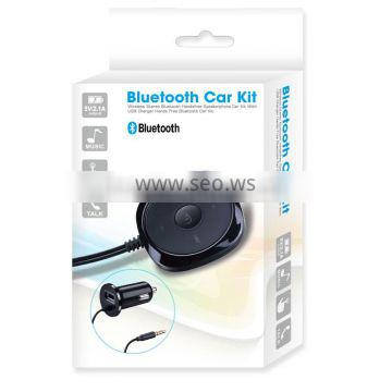 2016 Bluetooth transmitter Receiver Car Kits with 3.5mm Aux Jack & USB Car Charging for All Smartphones