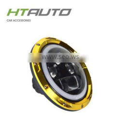 HTAUTO Chrome Cover 7'' Halo LED Headlight for Jeep Compass Round 60w LED Work Light