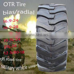 OTR tyre 16.9-24 TT/TL 16.9-28 17.5L-24 19.5L-24 21L-24 12.5/80-18tubeless Tire and ISO9001 Certification military truck tyre Quality Choice