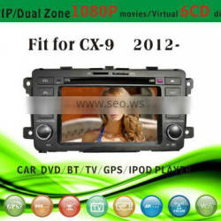 touch screen car dvd player fit for Mazda CX9 2012 with radio bluetooth gps tv pip dual zone