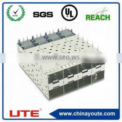 with outer/inner light pipes SFP optical Fiber connector 2*4 ports