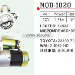 Auto Starter motor for 491 engine 16833 toyota 28100-72010 2-1050-ND 02800-9261