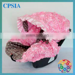 2015 High Quality 3D Rosette Pink Flower &Grey Dots Infant Car Accessory Funny Baby Car Seat Covers Fabric Seat Protector
