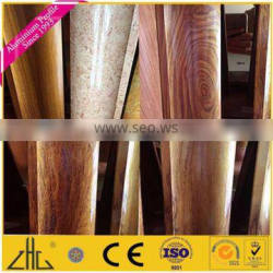 Popular 6063-T5 extruded wood grain transfer aluminum profile with aluminum color for South America market