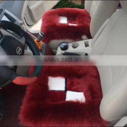 Full Set Wool Sheepskin Car Cushion Front Back Seat Covers 3 Pieces