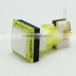 Yellow square illuminated arcade game machine push button switch mechanical pushbutton switch with LED light