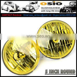 5' Round YELLOW LENS head light ,12V/24V Halogen Sealed Beam , SEMI-SEALED BEAM, install HID ,H4