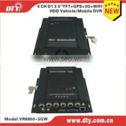 DTY VR8800G continuous record h264 cooling system d1 4ch dvr with gps