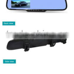 Car rearview mirror 1080P universal clip on tachograph with 4.3 inch HD LCD display with one way DVR