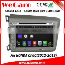 Wecaro android 4.4.4 car dvd player high quality 8 for honda civic navigation system OBD2 Playstore 2012 2013
