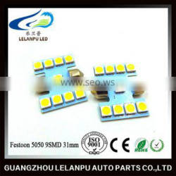 Factory outlet LED festoon 5050 9SMD 31mm car lighting auto interior lights