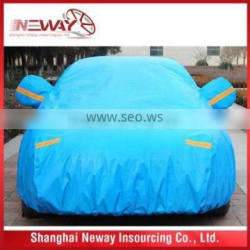 Shiney color auto /car waterproof cover with mirror pocket /refective tape