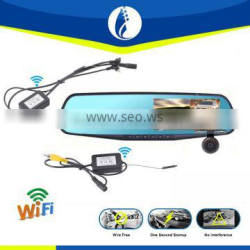4.3inch rear view mirror with wifi wireless reversing backup camera