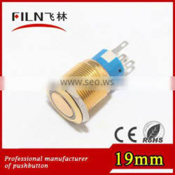 19mm diameter plated gold flat round illuminated momentary push botton switch with 12vdc ring red LED
