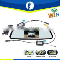 wifi wireless 2.4G 4.3inch wire free one second startup waterproof HD car rearview mirror