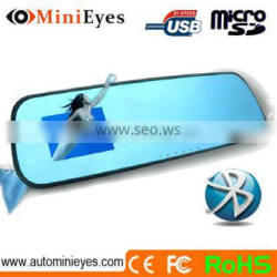 Car rearview 4.3 inch Mirror Blue Screen Tooth DVR and bluetooth handsfree car kit mirror wd0608