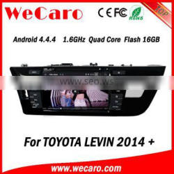 Wecaro Android 4.4.4 car stereo 1024 * 600 for toyota levin car video system WIFI 3G 16GB Flash 2014 2015