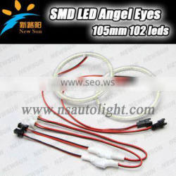 Halo ring angel eyes 105MM auto car led headlight replacement 3014SMD 9-16V DC 7000K head lamp high brightness