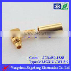 MMCX connector male crimp 90 right angle for RG316 cable