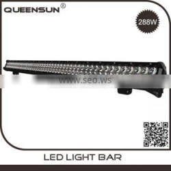 New design wholesale IP67 46inch 288w car offroad double row 46 inch curved led light bar